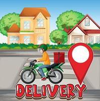 homem de bicicleta ou mensageiro andando na cidade com logotipo de entrega vetor