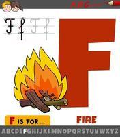 letra f do alfabeto com fogo de desenho animado