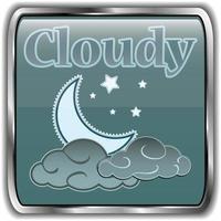 ícone do clima noturno com texto nublado vetor