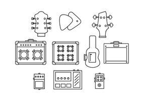 Free guitar equipment line icon vector
