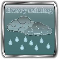 ícone de clima noturno com texto chuva forte vetor