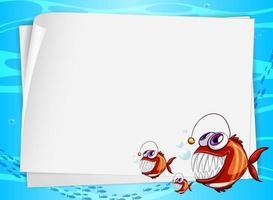 banner de papel em branco com peixes pescadores e no fundo subaquático