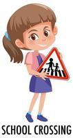 garota segurando uma placa de trânsito isolada no fundo branco vetor