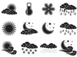 conjunto de ícones de cor preta para clima noturno