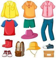 conjunto de roupas com acessórios isolados no fundo branco vetor