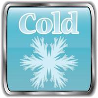 ícone do clima diurno com texto frio vetor
