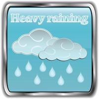 ícone do clima diurno com texto chuva forte vetor