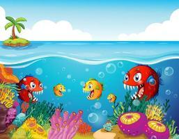 muitos peixes exóticos personagem de desenho animado no fundo subaquático