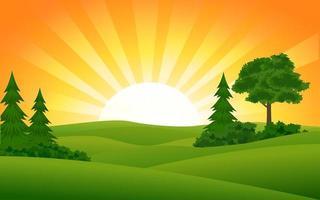 bela cena do pôr do sol no campo vetor