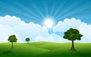 nascer do sol brilhante na floresta vetor