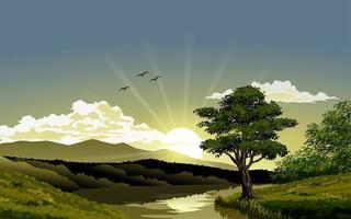 ilustração do nascer do sol no rio vetor