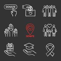 conjunto de ícones de giz de caridade vetor