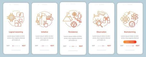 qualidades profissionais na tela da página do aplicativo móvel vetor
