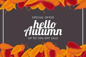 Olá fundo de venda de outono vetor