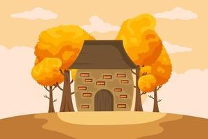 fundo de outono com folhas desenhadas à mão