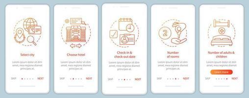 tela da página do aplicativo móvel para planejamento de viagem vetor