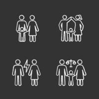 conjunto de ícones de giz de custódia infantil vetor