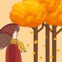 personagem no fundo do outono vetor