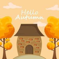 fundo de outono com folhas desenhadas à mão vetor