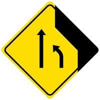 Sinal amarelo de trânsito de perda de pista em fundo branco vetor