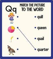 combinar a imagem com a planilha de palavras para crianças vetor