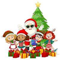 Papai Noel com crianças usando fantasia de personagem de desenho animado em fundo branco vetor
