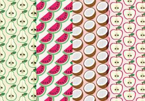 Coleção de padrões de frutas desenhadas a mão no vetor