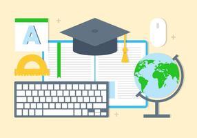 Elementos e ícones vetoriais de educação gratuita vetor
