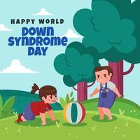 crianças com síndrome de down brincando em um campo vetor