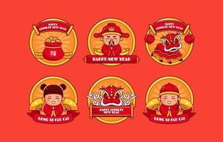 adesivo de ícone de comemoração do ano novo chinês vetor