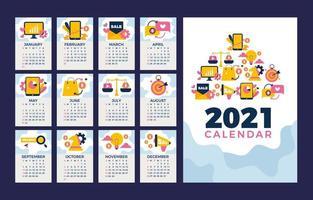 calendário de negócios limpo azul e branco