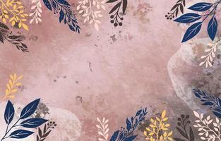aquarela fundo rosa arenoso com folhas coloridas vetor