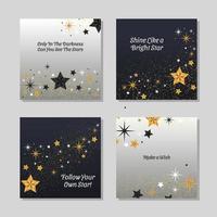 modelo de cartão tri-color estrelas e desejos vetor