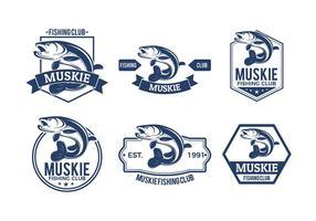 Emblema de peixe de muskie vetor grátis