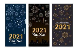 banners de fogos de artifício de ano novo de 2021
