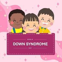 crianças felizes com a síndrome de três down segurando uma bandeira vetor