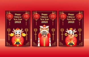 cartões de ano novo chinês vetor