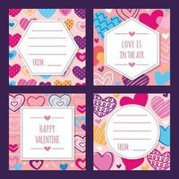 coleção de cartões de presente do dia dos namorados desenhados à mão vetor