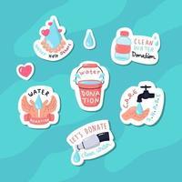 coleção de adesivos de doação de água vetor