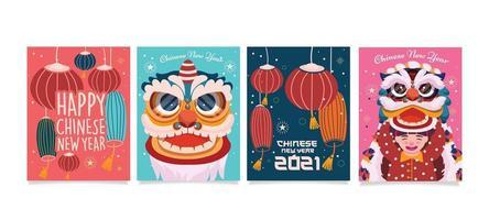 design de cartão divertido de ano novo chinês vetor