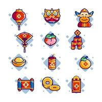 ícones do ano novo chinês vetor
