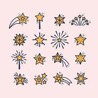 contorno conjunto de ícones de estrelas vetor
