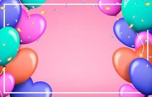moldura realista do dia dos namorados com balões de amor vetor