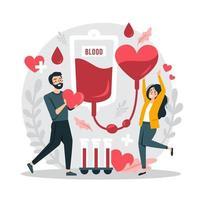 ilustração do conceito de conscientização sobre doação de sangue vetor