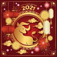 vermelho e dourado ano novo chinês de 2021 vetor