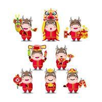 personagens fofinhos animados de bois do ano novo chinês vetor