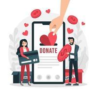 doação por pagamentos online vetor
