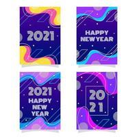 coleção colorida e vibrante de cartões de ano novo de 2021 vetor