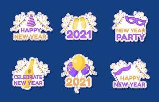 coleção de adesivos coloridos de feliz ano novo 2021