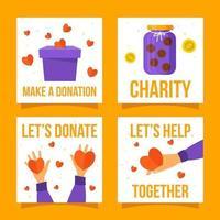 coleção colorida de cartões de doação vetor